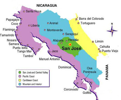 Hotel and accommodation map of Costa Rica